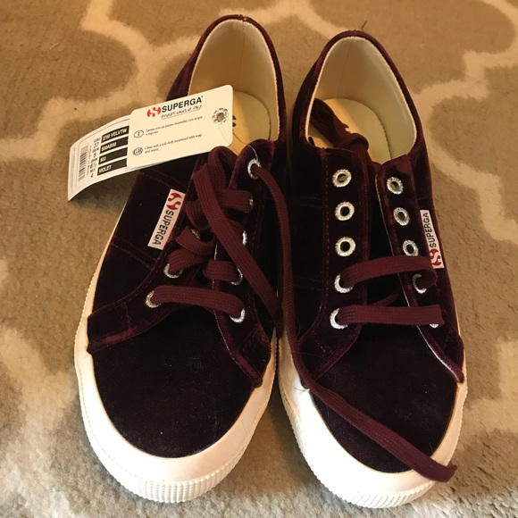 Superga Shoes | Burgundy Velour | Poshmark